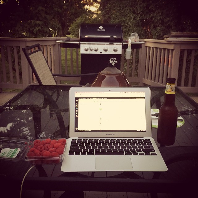 Chicken on the grill, cold beer, cool night.